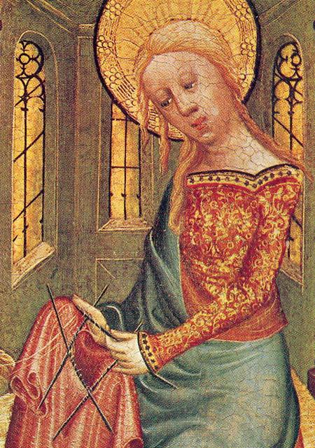 """""""The Knitting Madonna"""" van het Buxtehude Altar, 1400–1410. Meister Bertram von Minden (1345–1425), Collectie Kunsthalle, Hamburg, Duitsland."""