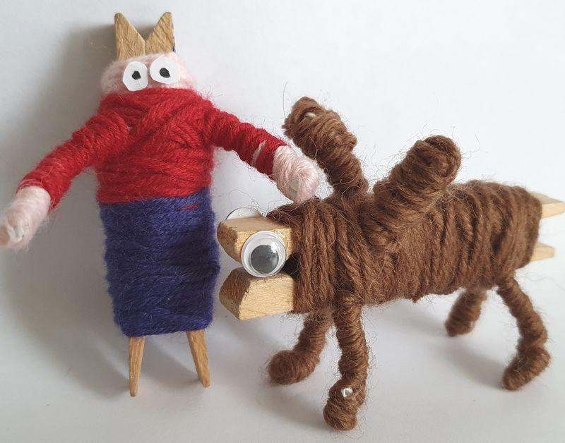 Wol & Co knijperpoppetje 10 met hond