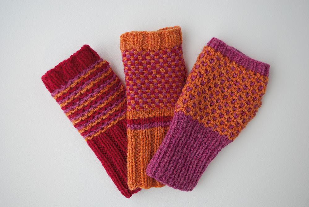 Wol & Co vingerloze handschoenen draad1 proeflapjes
