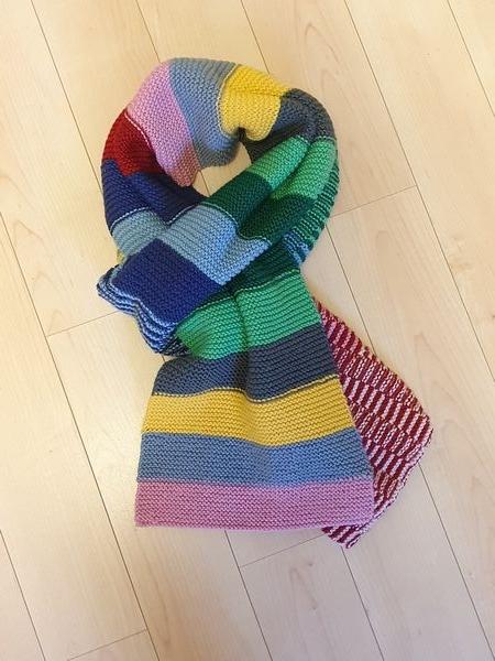 Wol & Co sjaal met brede strepen